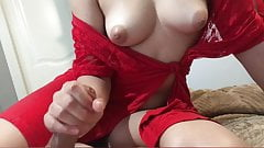 Young Czech milf caught me jerking off and helped me cum