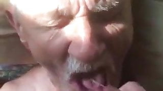 Older man loves to eat cum