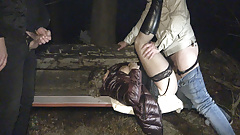 Dogging slut Jessica creampied by strangers on a park bench