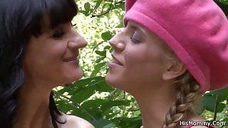 Lesbian step mom girl outdoor orgy