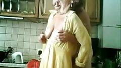 Mum and dad having fun in the kichen. Stolen video