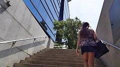 upskirt metro stairs