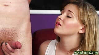 Cfnm brits in kinky threesome suck and jerk