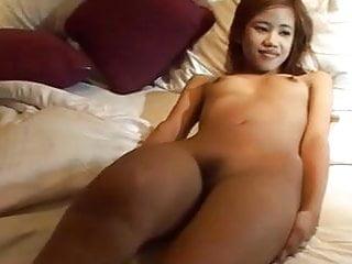Tia blowjob Cum spray on petite thai tia