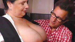 big cock couple, German style, big mom fucks lucky client