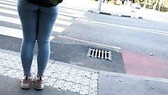 Candid street voyeur sporty teen ass - thight blue jeans