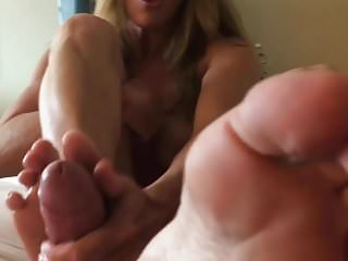 Sissy boy cum cleanup Footjob handjob soles in face with cum cleanup