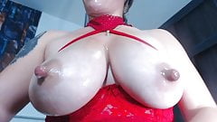 Busty camwhore Estrella squirts milk from big pink nipples