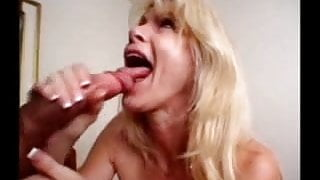 Mature with a big mouth sucks and swallows