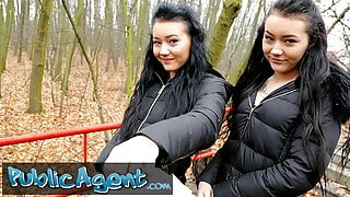 Public Agent Real Twins stopped on the street