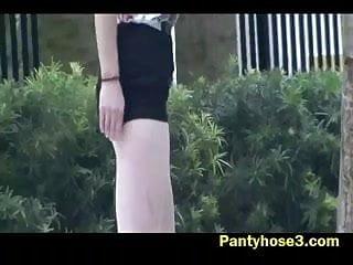 Front struts for a escort 1999 Secretary strutting her nylon pantyhose