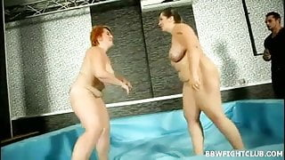 Nude wrestling match with 2 fat and big titted women