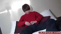 Asian twinkie teases with his hairy rear and jerks off