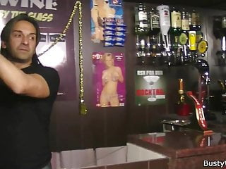 Huge boobs at work - Huge barmaid riding cock at work