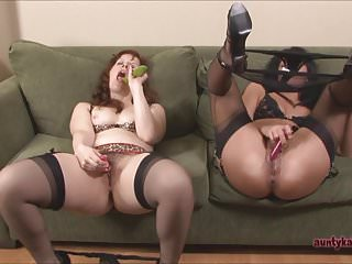 Canadian sexy lingerie Dirty milfs shove cucumbers up their assholes