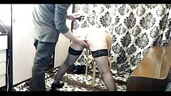 Russian submissive mommy. Handcuffs, blowjob, humiliation...