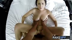 Coed with big tits loves sucking and riding huge hard cock