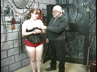 Redhead corset Cute thick slave girl in corset is restrained and humiliated by her master