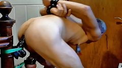 nackedslave6 big dildo balls tied up
