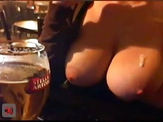 College chicks flashing boobs Big boobed chick flashes in a public pub 2