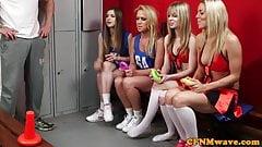 Four sluts compete for cock