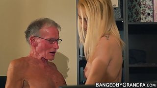 Scrawny old dude drills a stunning blondes tight pussy hard