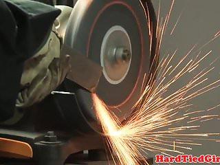Video of male using vibrator sleeve Bdsm sub hogtied and toyed using vibrator