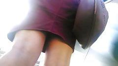 Upskirt on escalator 26