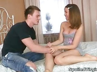 Hardcore teen virgin sex Emily is a young virgin whose pussy is being inspected by