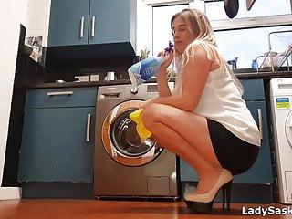 Nude housework - Milf housework upskirt in sexy heels