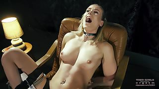 Tied orgasm in the armchair
