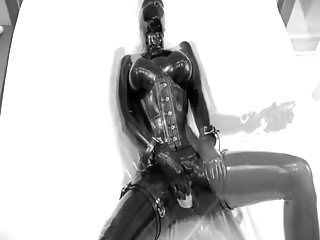 Asian latex dolls - Rubber doll masturbates