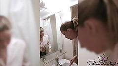Student Brushing Teeth and Play Pussy in the Bathroom