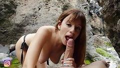 Kinky Girl Deepthroats Her Boyfriend's Cock Outdoors