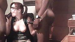 Interracial brunette wife in mmf
