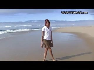 Russian amateur nudist teen Nudist teen flashing at beach