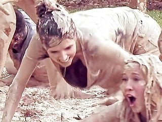 Women naked in mud Anna kendrick showing cleavage as she crawls in mud
