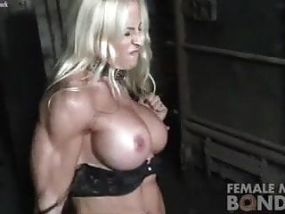 Woman drinkng piss Muscular jill still bound and pissed off