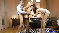 European stockings amateur cockriding in trio