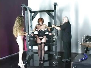Lesbians torture dungeons Cute young brunette girls in lingerie torture each other in the bdsm dungeon
