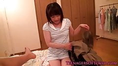 Japanese teen schoolgirl gargling some cum