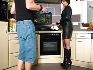 Freeview kitchen milf - Hot cougar in leather and boots gets it in kitchen