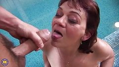 Mature Pool Party aka Saggy Twister the Mum and Son Swingers