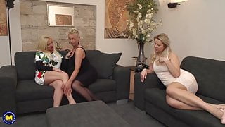 Beautiful lesbian threesome with step moms and daughter