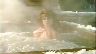 Nude woman shocked in hot tub