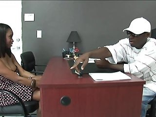 Ebony licks and fingers his ass Black stud gets to fuck a hot ebony girl in his office