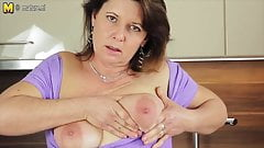 Hot mature mother plays with her wet pussy