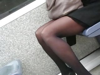 Homemade black cock tubes - Candid working woman in black tights pantyhose in the tube