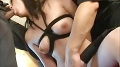 Bound And Toyed Asian Swallows A Load