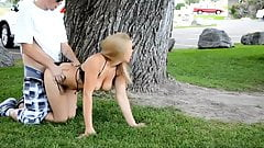 Horny amateur couple enjoying public sex in the park